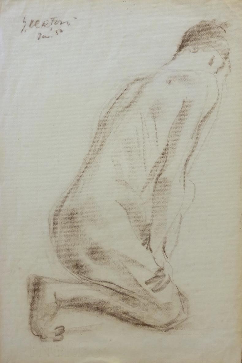 Artist: Sudjana Kerton, b.1922 (Indonesia)    Title: Untitled Medium: charcoal on paper   Dimension: Year: 1950
