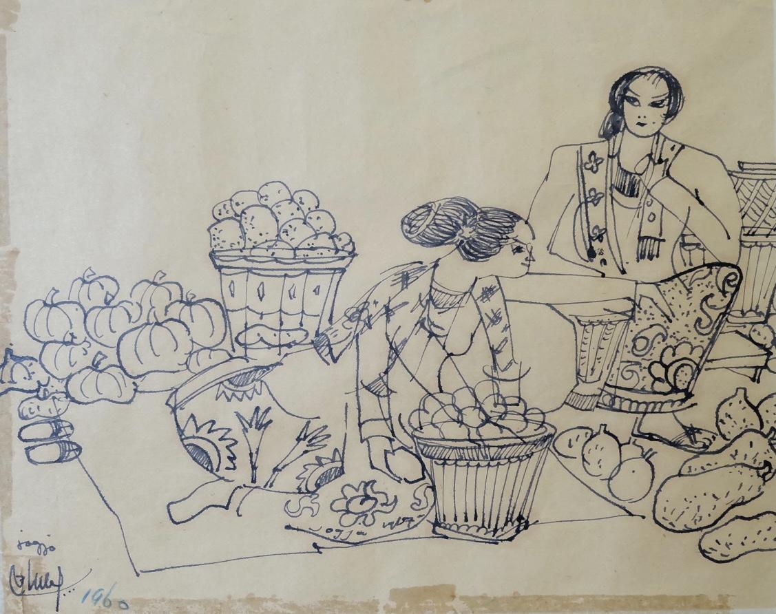 Artist: Batara Lubis, b.1927 (Indonesia)  Title: Pedagang Buah Medium: ink on paper Dimension: 21 cm x 26 cm Year: 1960