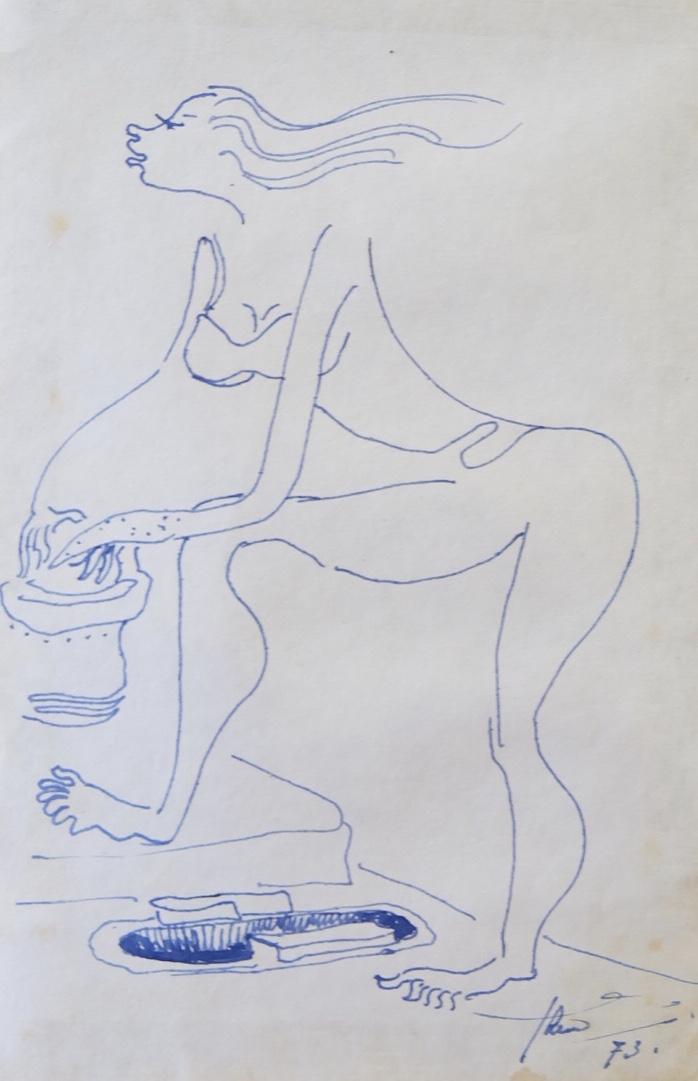 Artist: Hendra Gunawan, b.1918 (Indonesia)    Title: Nude 1 Medium: pen on paper   Dimension: 15 cm x 10 cm Year: 1973