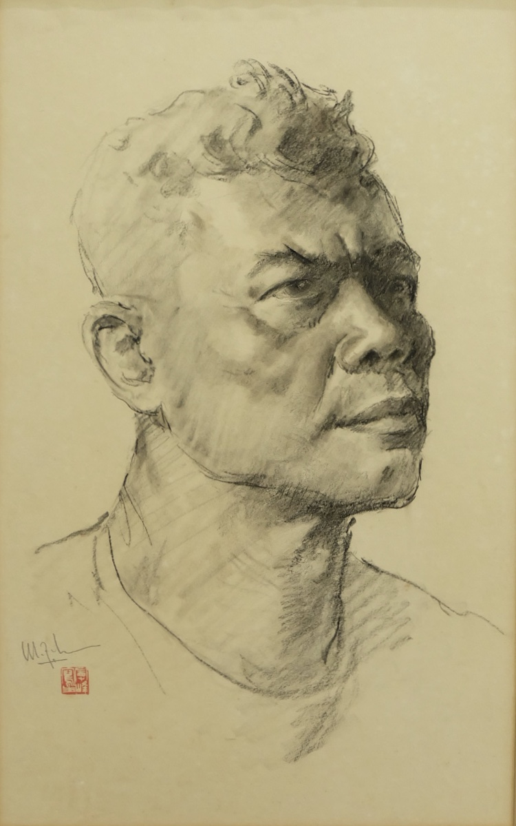 Artist: Lee Man Fong, b.1913 (China)  Title: Untitled Medium: charcoal on paper Dimension: 50 cm x 30 cm Year: