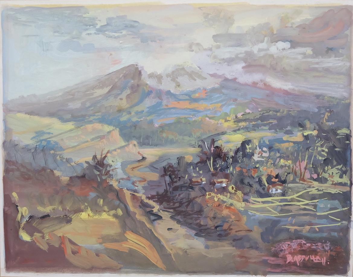 Artist: Basuki Abdullah, b.1915 (Indonesia)    Title: Pemandangan Medium: water color on paper   Dimension: 18 cm x 23 cm Year: