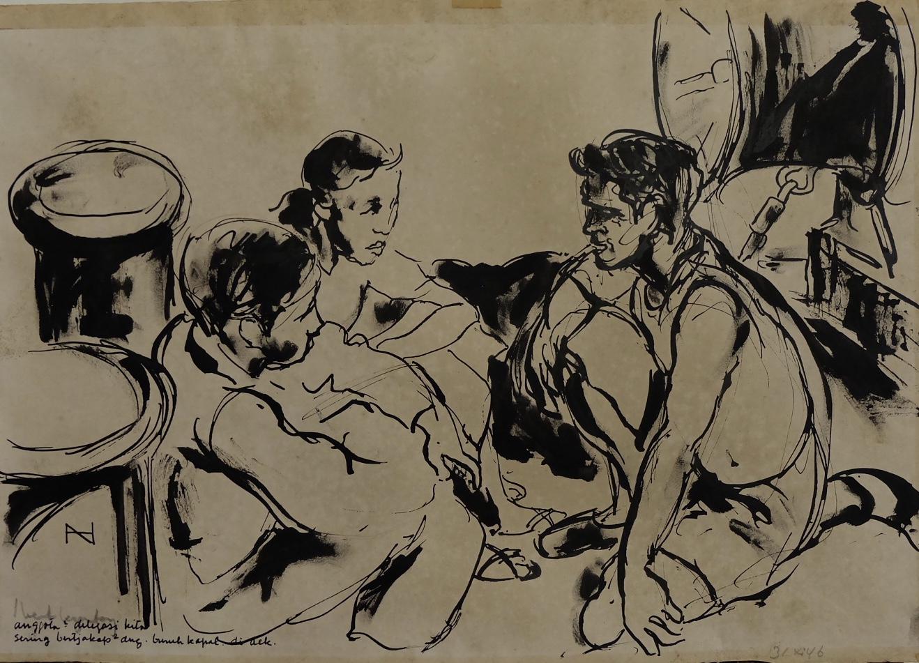 Artist: Henk Ngantung, b.1921 (Indonesia)    Title: Di Atas Kapal Renville Medium: ink on paper   Dimension: 35 cm x 40 cm Year: 1946