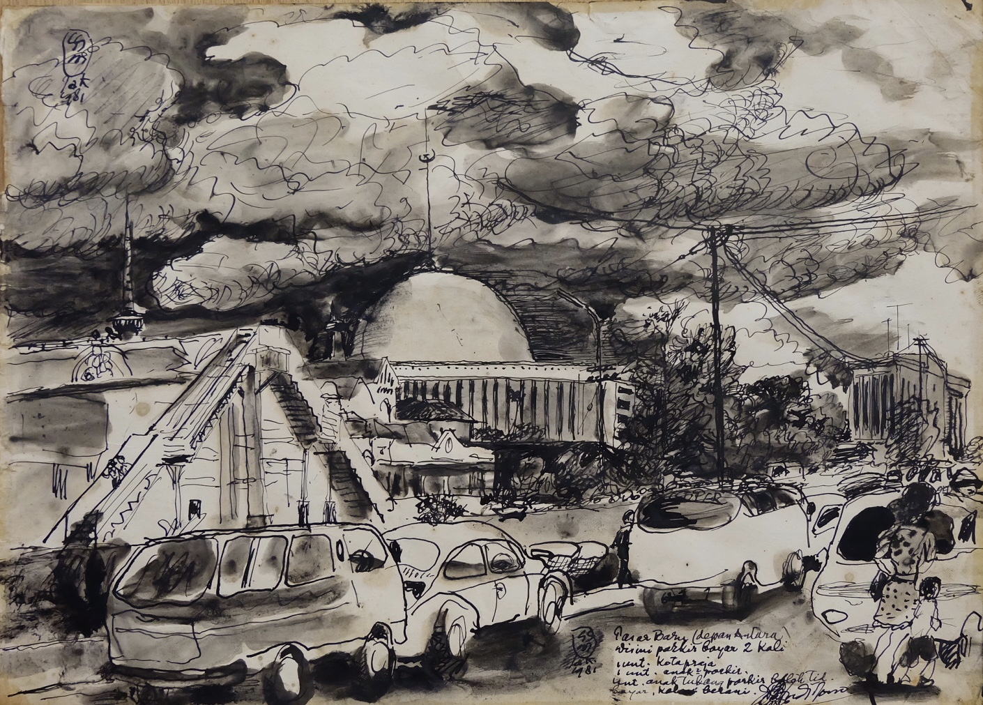 Artist: Sudjojono, b.1913 (Indonesia)    Title: Pasar Baru  Medium: ink on paper   Dimension: 26 cm x 36 cm Year: 1981