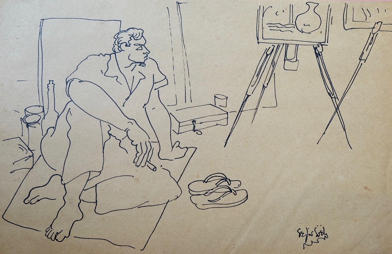Artist: Fajar Sidik, b.1930 (Indonesia)    Title: Di Studio 2 Medium: ink on paper   Dimension: 22 cm x 33 cm Year: