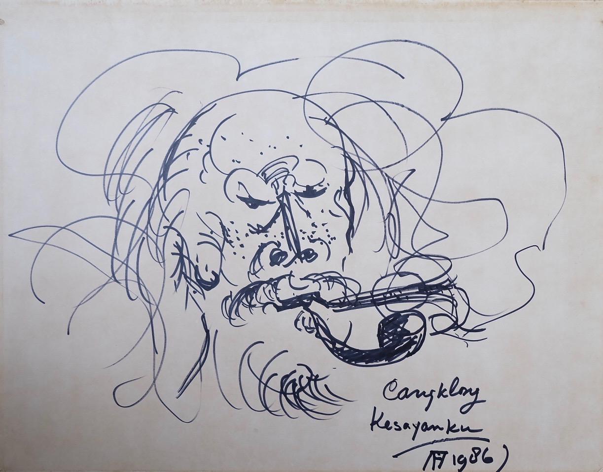 Artist: Affandi, b.1907 (Indonesia)  Title: Cangklong Kesayangan Medium: ink on paper Dimension: 43 cm x 55 cm Year: 1983