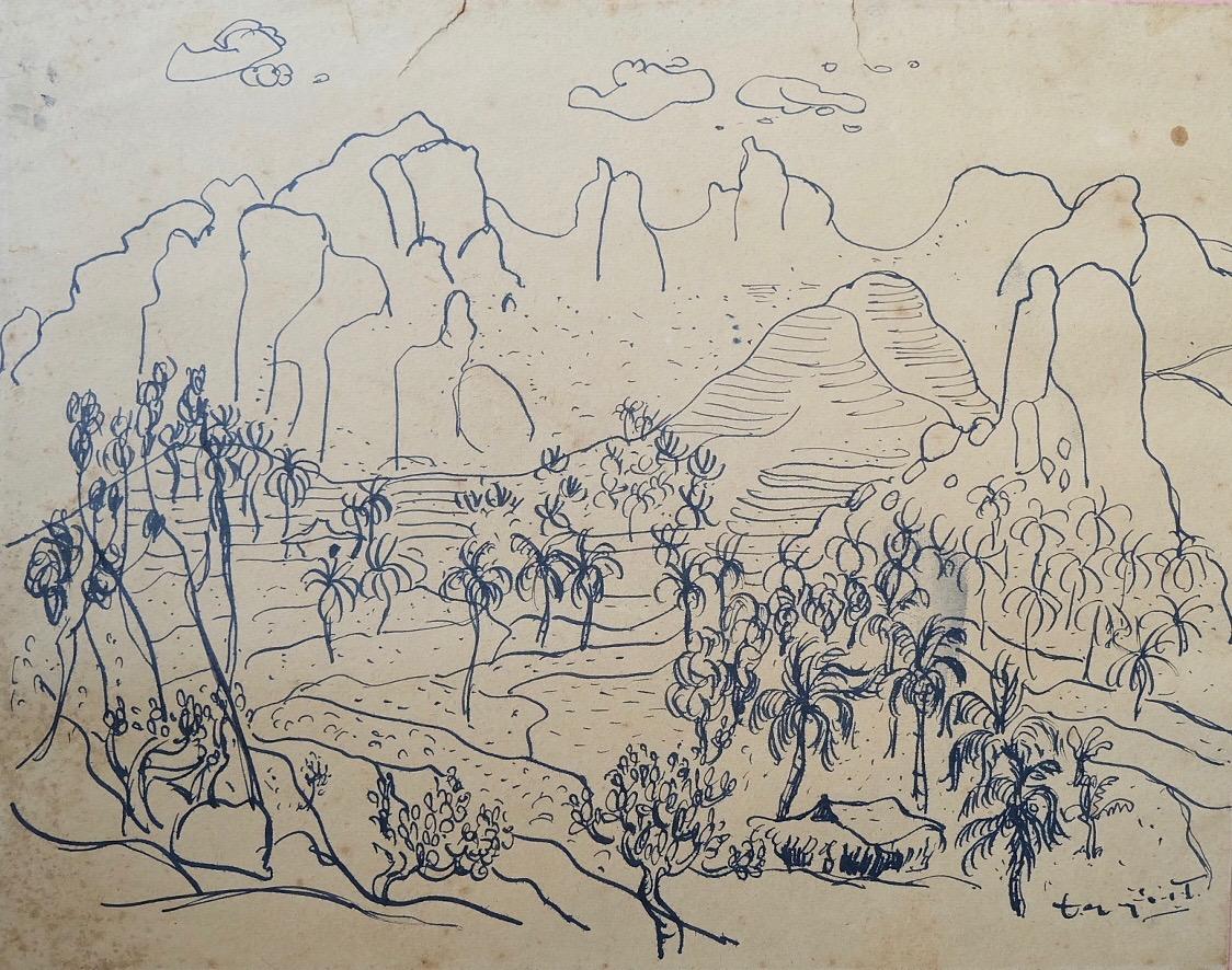 Artist: Itji Tarmizi, b.1939 (Indonesia)  Title: Pemandangan Medium: ink on paper Dimension: 22 cm x 28 cm Year: 1960