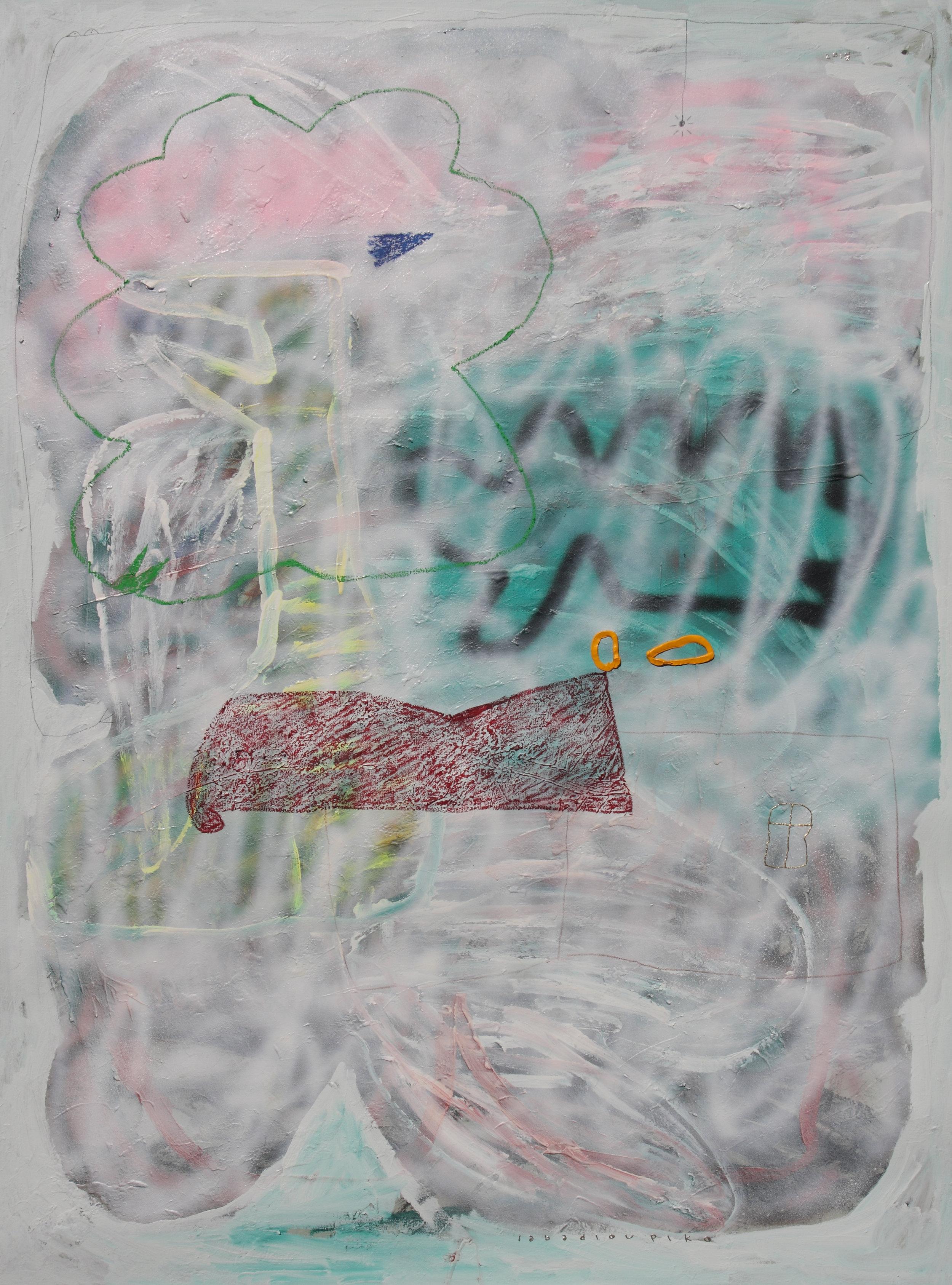 Artist: Iabadiou Piko, (INDONESIA)  Title: Putih Setelah Warna Medium: acrylic, bitumen, spray paint, color pencil, pencil, oil, oil bar, relief paint, charcoal, marker on linen blend Dimension: 200 cm x 150 cm Year: 2018