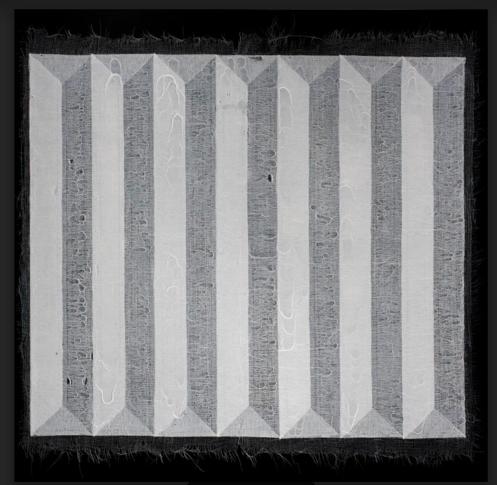 Artist: Saiful Razman (MALAYSIA)  Title: DEFENSE Medium: medical gauze, tissue paper, polyvinyl adhesive, polycrylic and acrylic on canvas Dimension: 152 cm x 152 cm Year: 2018