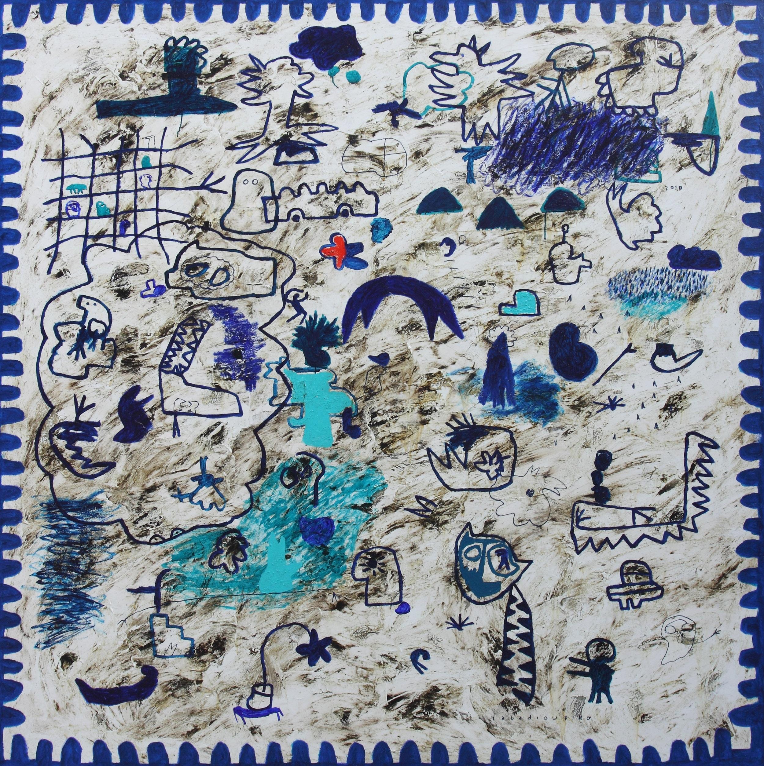 Artist: Iabadiou Piko, (INDONESIA)  Title:  Medium: mixed media on canvas  Dimension: 200 cm x 200 cm Year: 2017