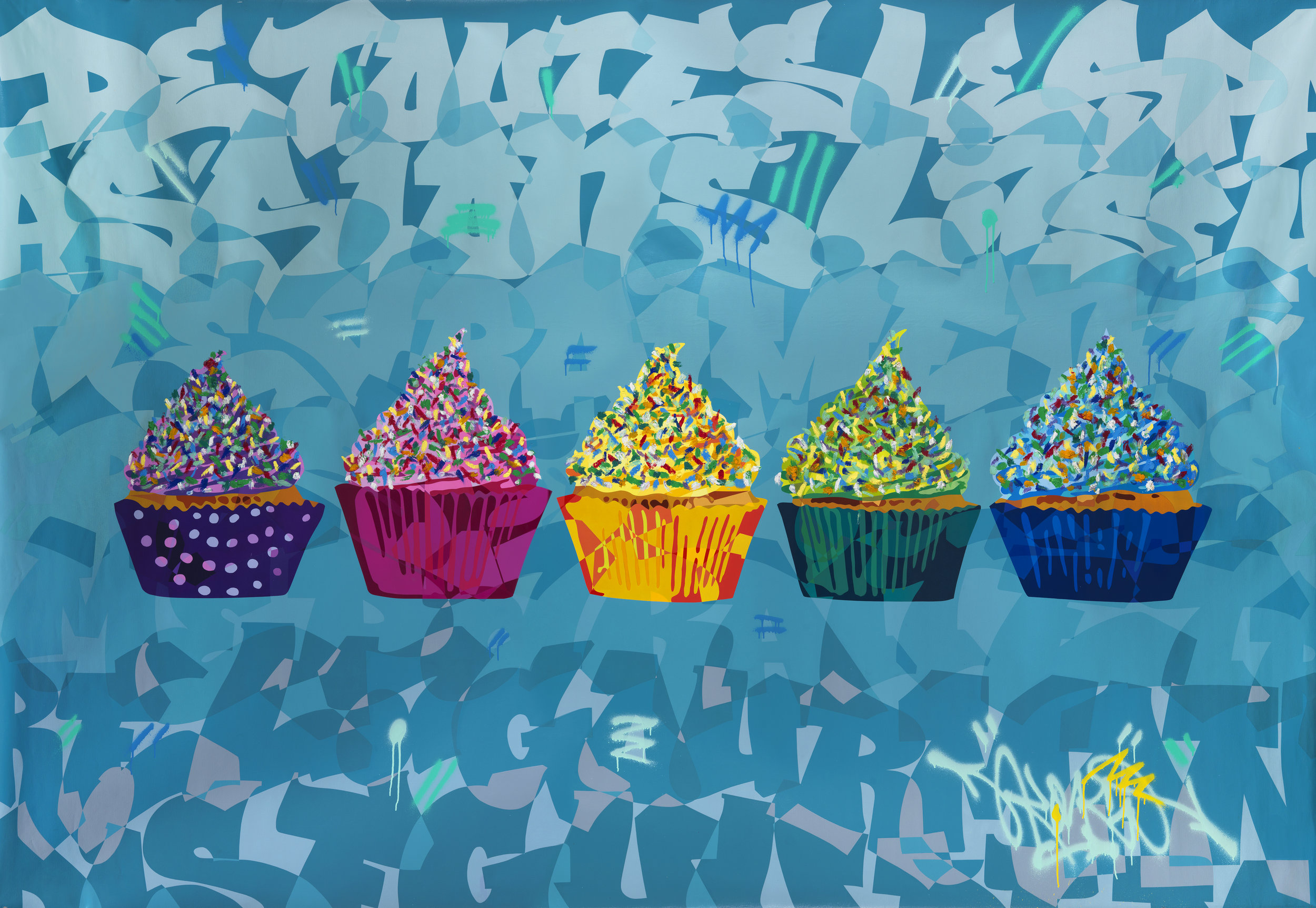 Artist: Kongo, b.1969 (FRANCE)  Title: Les Cinq Cup Cakes Medium: mixed media on french linen Dimension: 206 cm x 306 cm Year: 2018