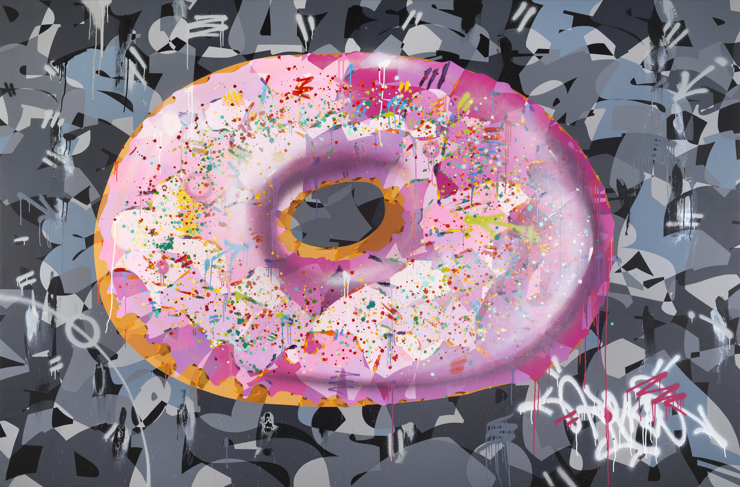 Artist: Kongo, b.1969 (FRANCE)  Title: Donut Rose Medium: mixed media on french linen Dimension: 200 cm x 300 cm Year: 2018