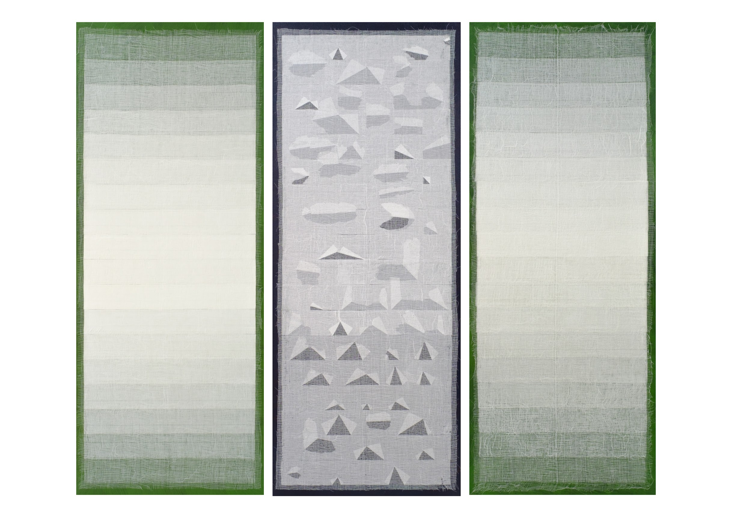 Artist: SAIFUL RAZMAN, MALAYSIA  Title: Closure Medium: acrylic on canvas  Dimension: 190 X 228 cm (triptych) Year: 2019
