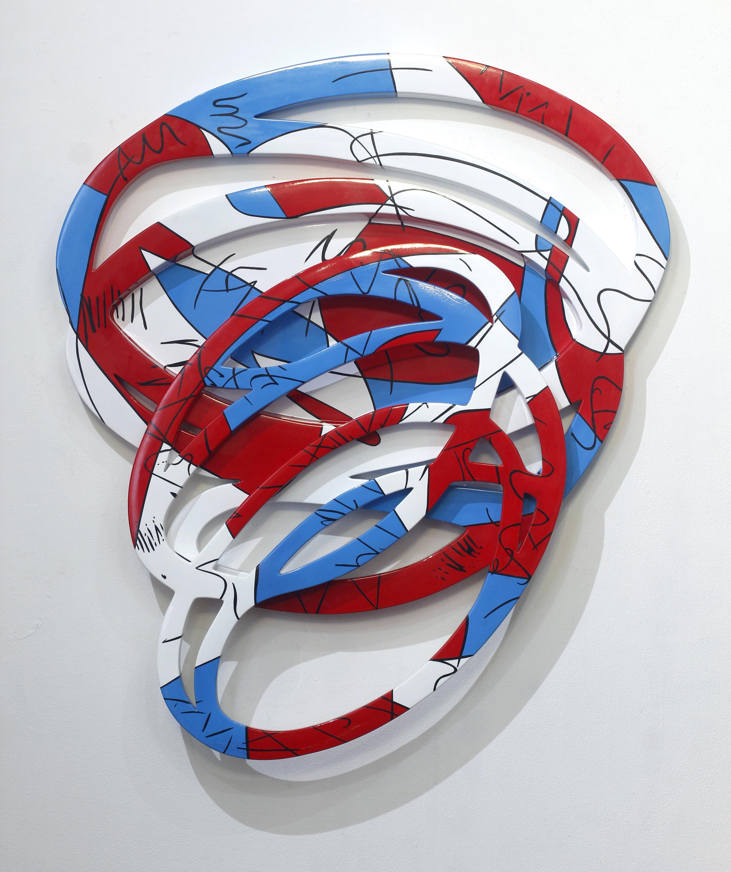 Artist: Erwin Windu Pranata, Indonesia  Title: The Stroke #9 Medium: polyurethane paint on steel sheet Dimension: 130 X 100 X 6 cm Year: 2019    SOLD