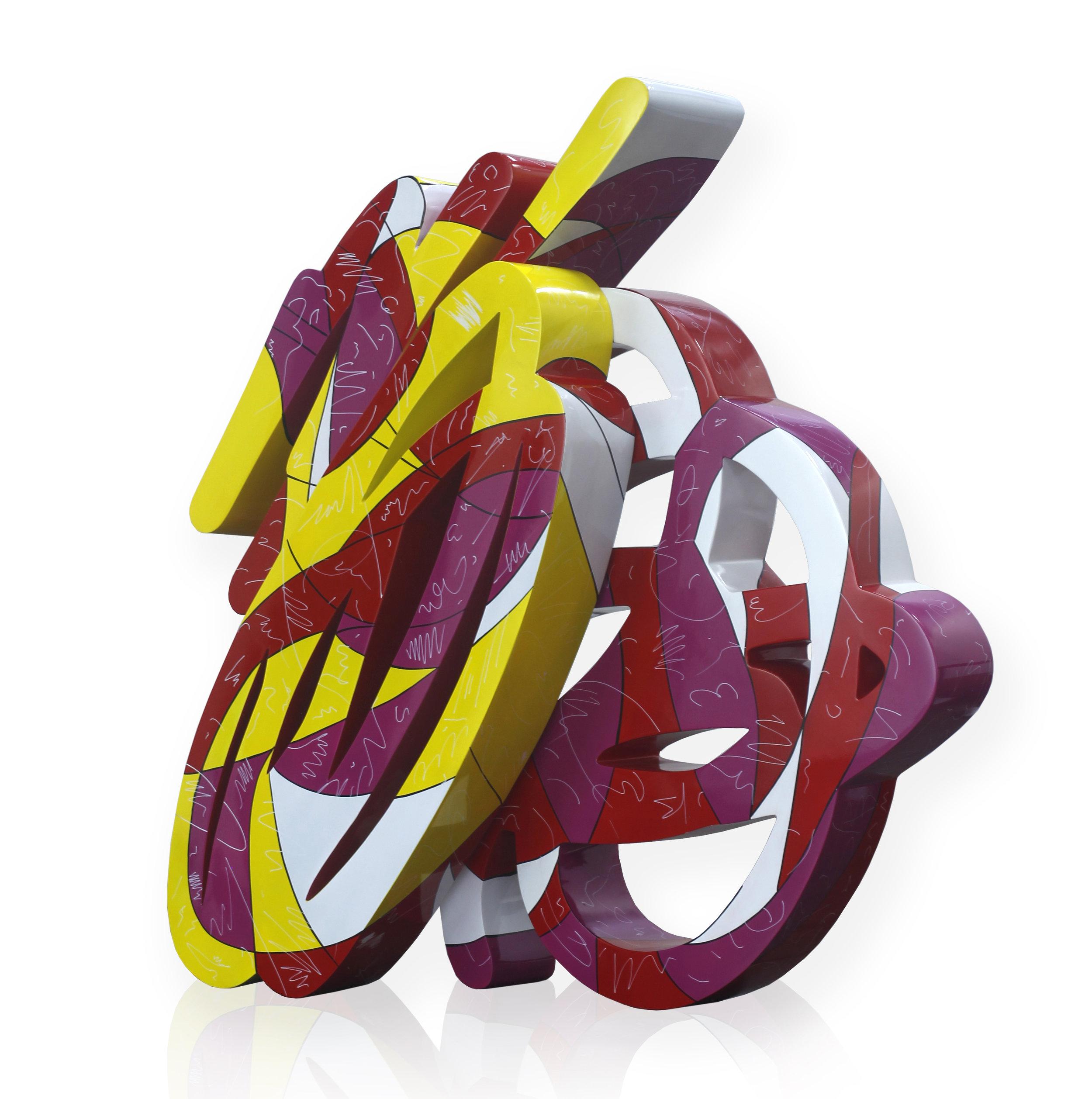 Artist: Erwin Windu Pranata, Indonesia  Title: The Stroke #13 Medium: polyurethane paint on steel sheet Dimension: 150 X 45 X 160 cm Year: 2019
