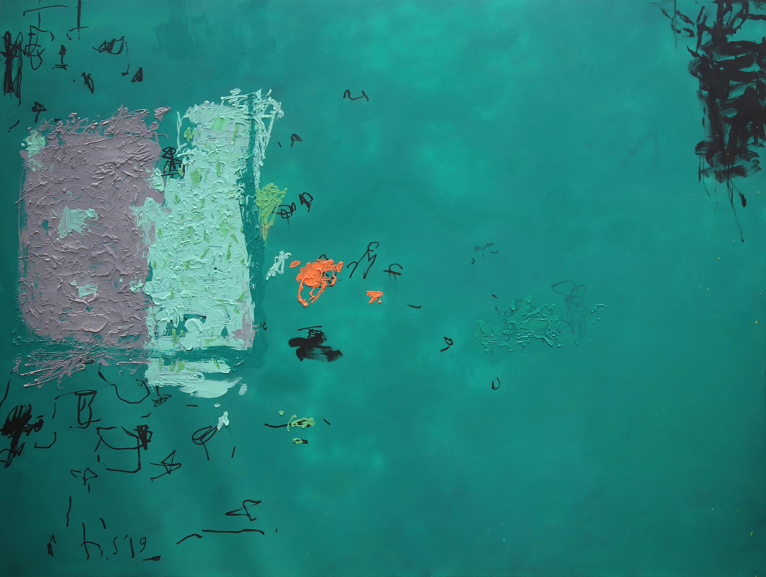 Artist: HEDI SOETARDJA, INDONESIA  Title: Serpihan Ingatan Di Atas Hamparan Hijau Medium: acrylic, spray paint, rubber pasta and marker on canvas  Dimension: 180 X 240 cm  Year: 2019