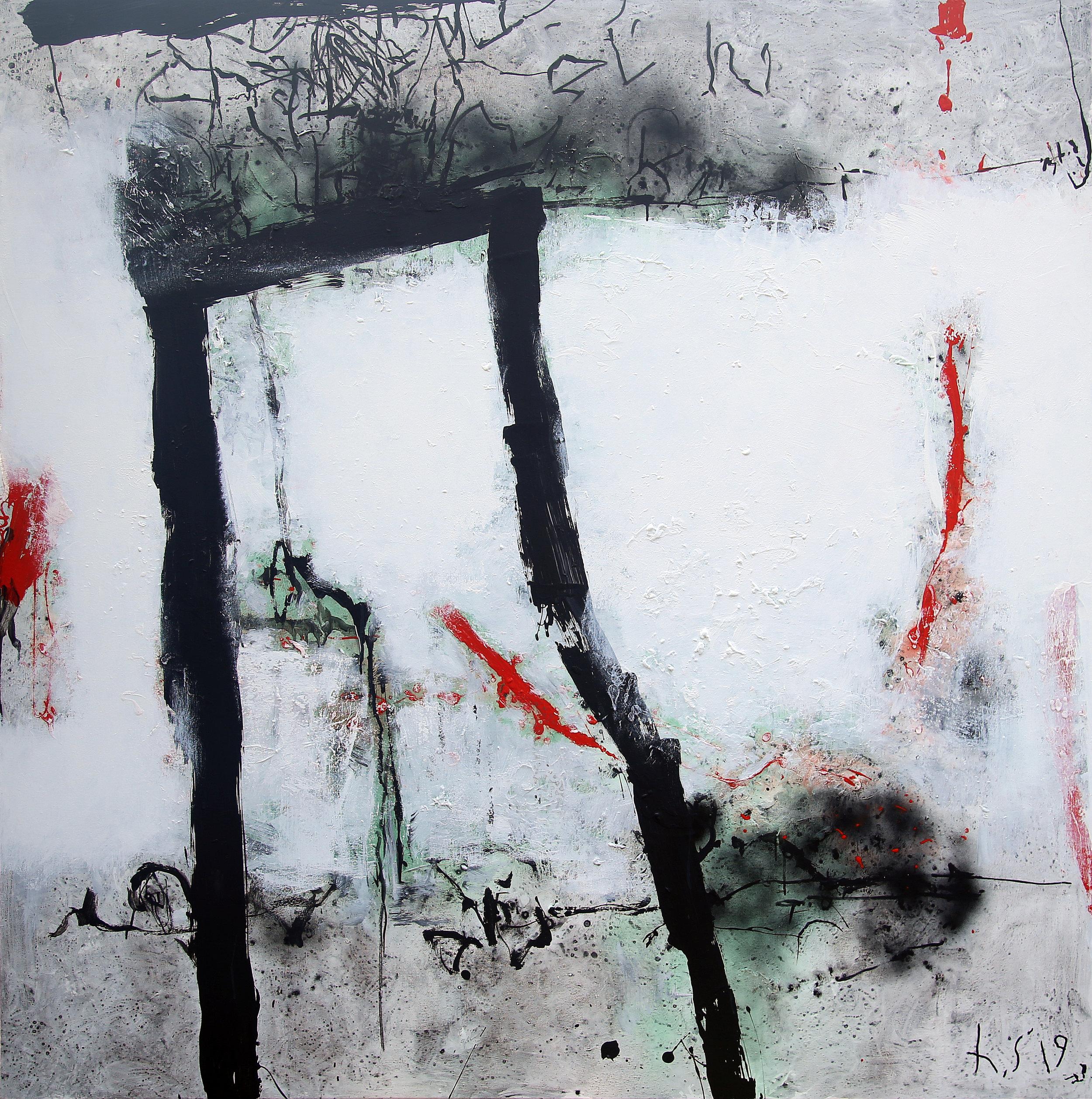Artist: HEDI SOETARDJA, INDONESIA  Title: Sesaat Melintas Merah Medium: acrylic, spray paint, rubber pasta and marker on canvas  Dimension: 200 X 200 cm  Year: 2019    SOLD