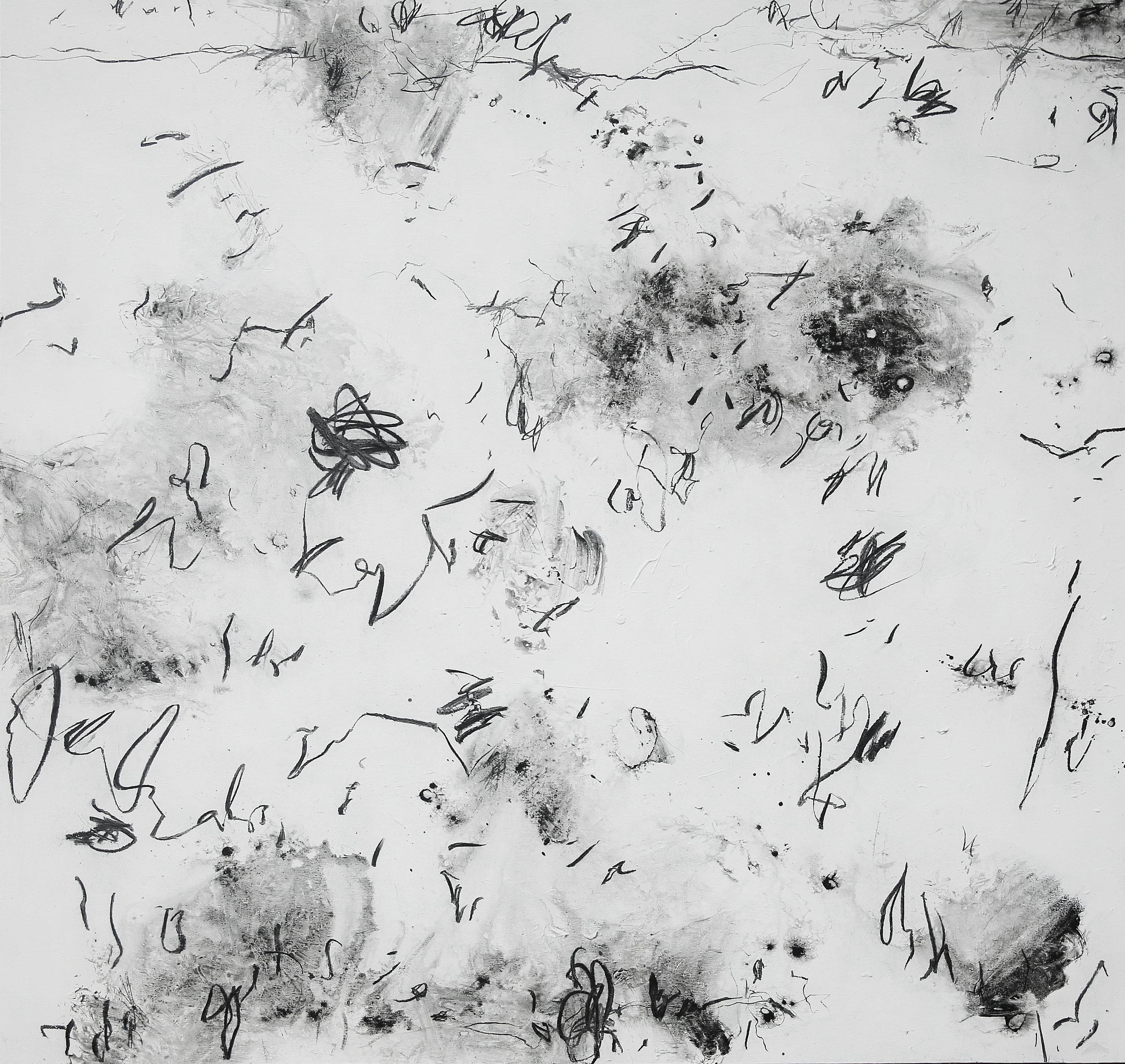 Artist: HEDI SOETARDJA, INDONESIA  Title: Riuh Bersama Hitam Medium: acrylic and charcoal on canvas  Dimension: 150 X 150 cm  Year: 2019    SOLD