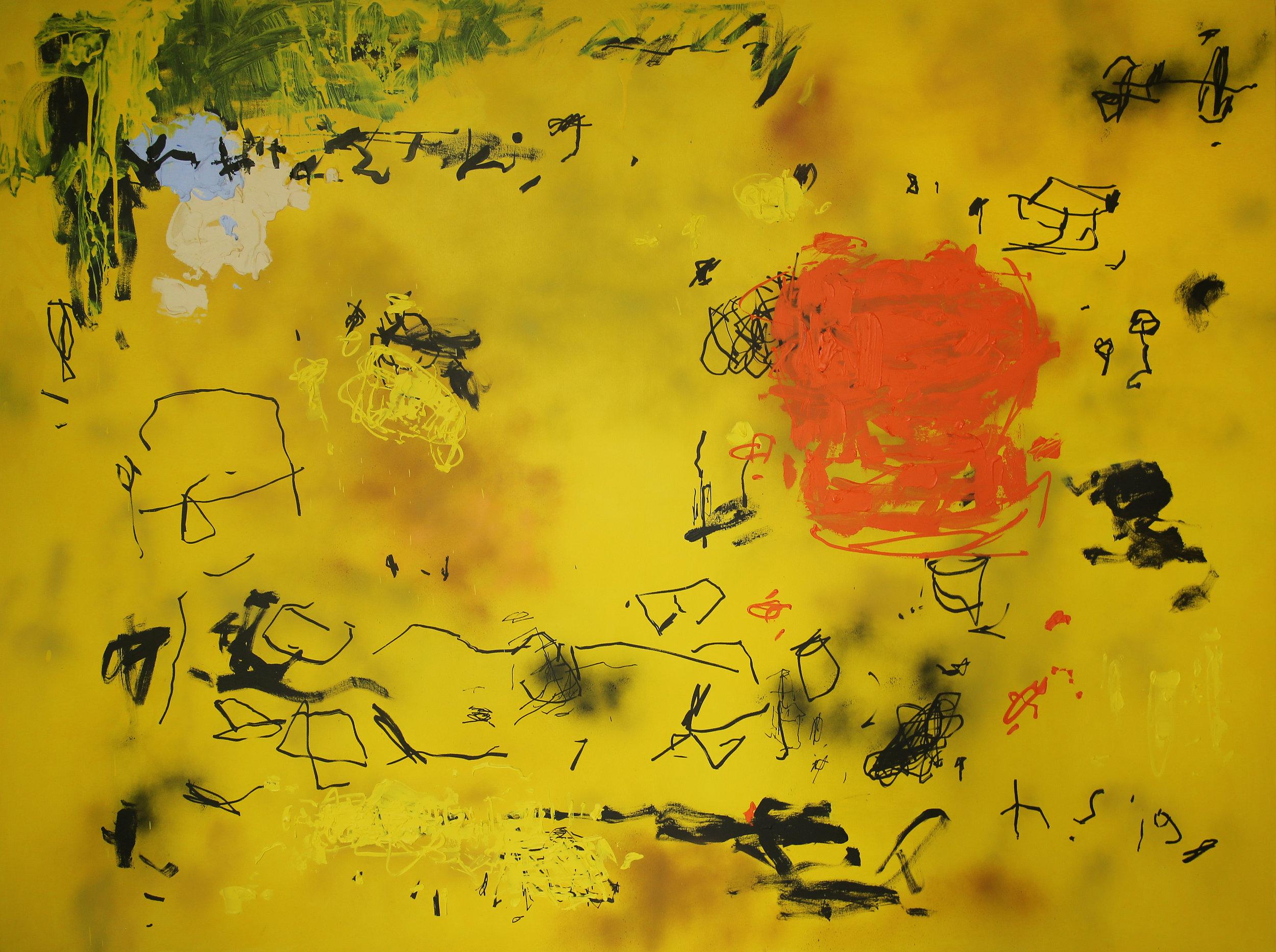 Artist: HEDI SOETARDJA, INDONESIA  Title: Mengingat Senja Medium: acrylic, spray paint and marker on canvas  Dimension: 180 X 2400 cm  Year: 2019    SOLD