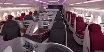 QATAR AIRWAYS A350 BUSINESS CLASS (IMAGE FROM QATAR'S WEBSITE)