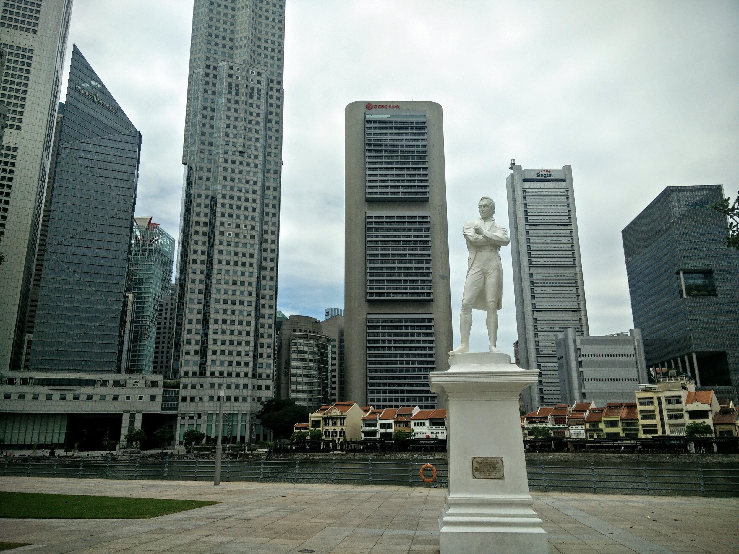 Sir Thomas Stamford Raffles, a British statesman, pictured at his first landing site to Singapore in the 19th century.