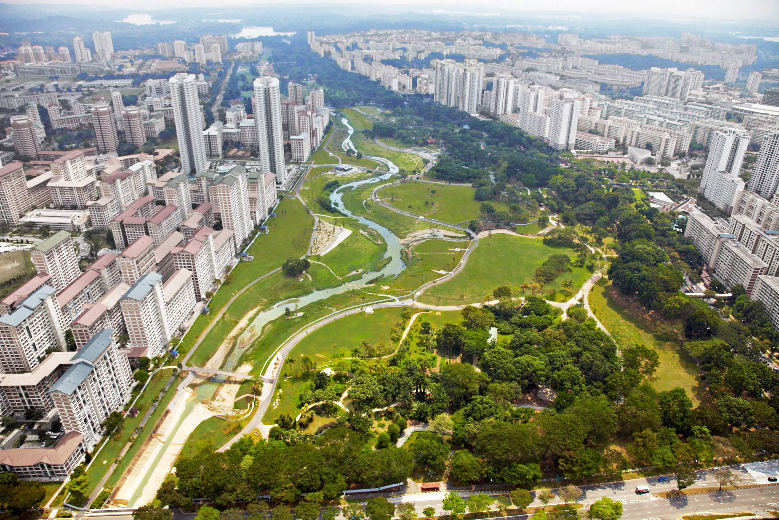 One of the most famous works by Studio Dreiseitl is the redevelopment of Bishan Park, that not only improved the capacity of the Kallang channel that used to run along the edge of the park, but transformed the utilitarian concrete channel into a naturalised river, creating new communal spaces. More info on the project can be found   here .  Photo: Studio Dreiseitl.