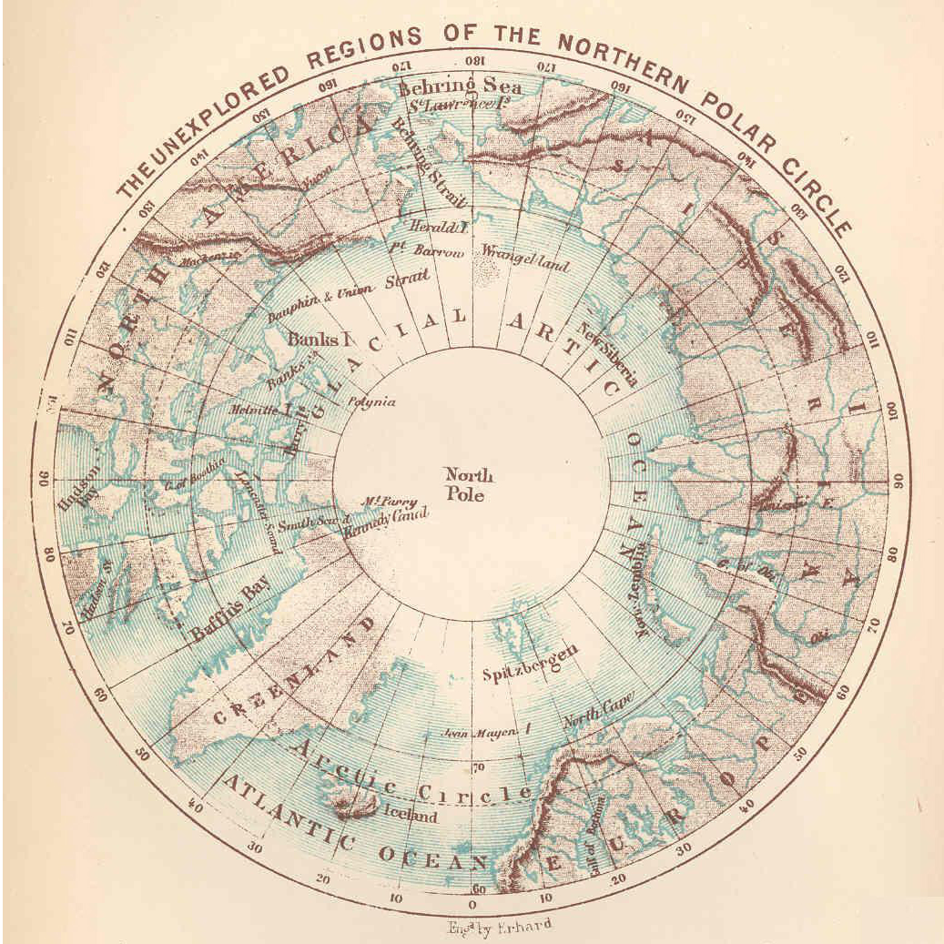 Unexplored areas of the Arctic, circa 1870