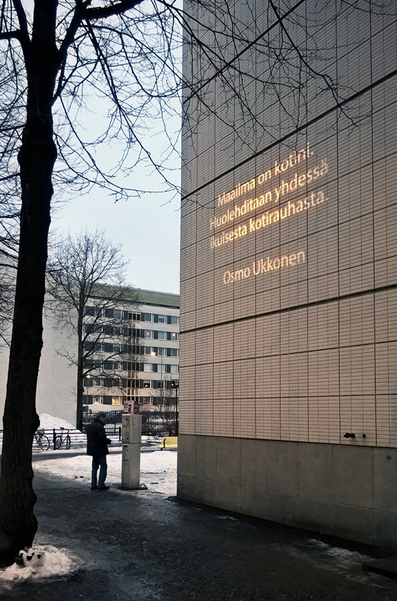 Osmo Ukkonen's work is part of the Alueemme tarinat (Stories of our region) work series, that can be found at the side facade of the local library. The changing light artwork features short text by local professional writers about the concept of home and home region. The project is part of the  100 year independence  celebrations of Finland in 2017. The theme of the celebrations is  Together , and the theme for the celebrations in this region is  Home . The texts are changing each month, and will be on display till the end of 2017. Photo: Anu-Anette Varho  (Text in the work, rough translation:  The world is my home - together let us take care of - lasting domestic peace  )  Thumbnail Photo to blogpost by Tripadvisor.