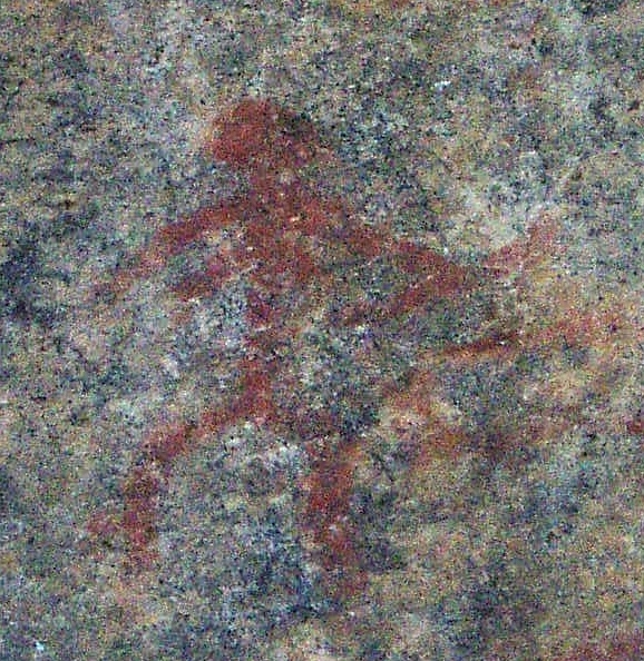 Detail of the Astuvansalmi rock paintings, a woman with a bow. Photo: Ahto Kokko, Wikimedia Commons