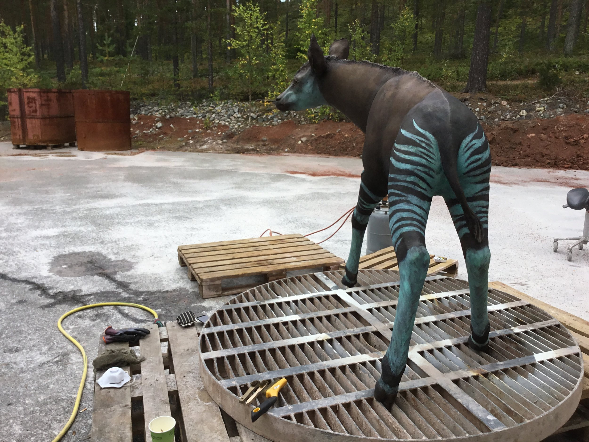 The sculpture at the foundry before installation. P.S. In nature, baby okapis manage to follow their mother by following her striped behind. Photo:  Lotta Mattila