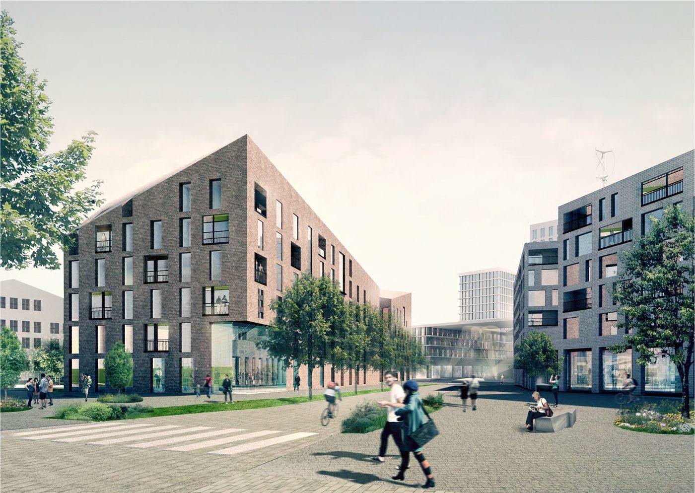 Kerasta rakentuu Espoolle uusi, urbaani asumisen ja työnteon keskus. Kuva:  B&M Arkkitehdit