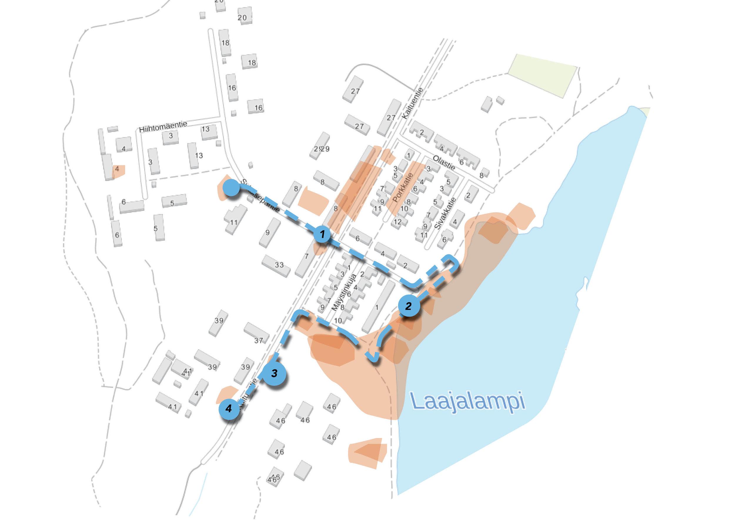 Kartalla on kuvattu oranssilla kohteeita, jotka nousivat esiin palautteissa. Sinisellä katkoviivalla on kuvattu kävelyreitti, joka suunniteltiin palautteen pohjalta.