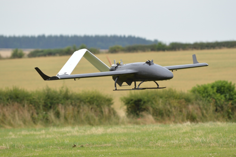 The UAV can land on unprepared field or ground. No expensive runways or roads required.