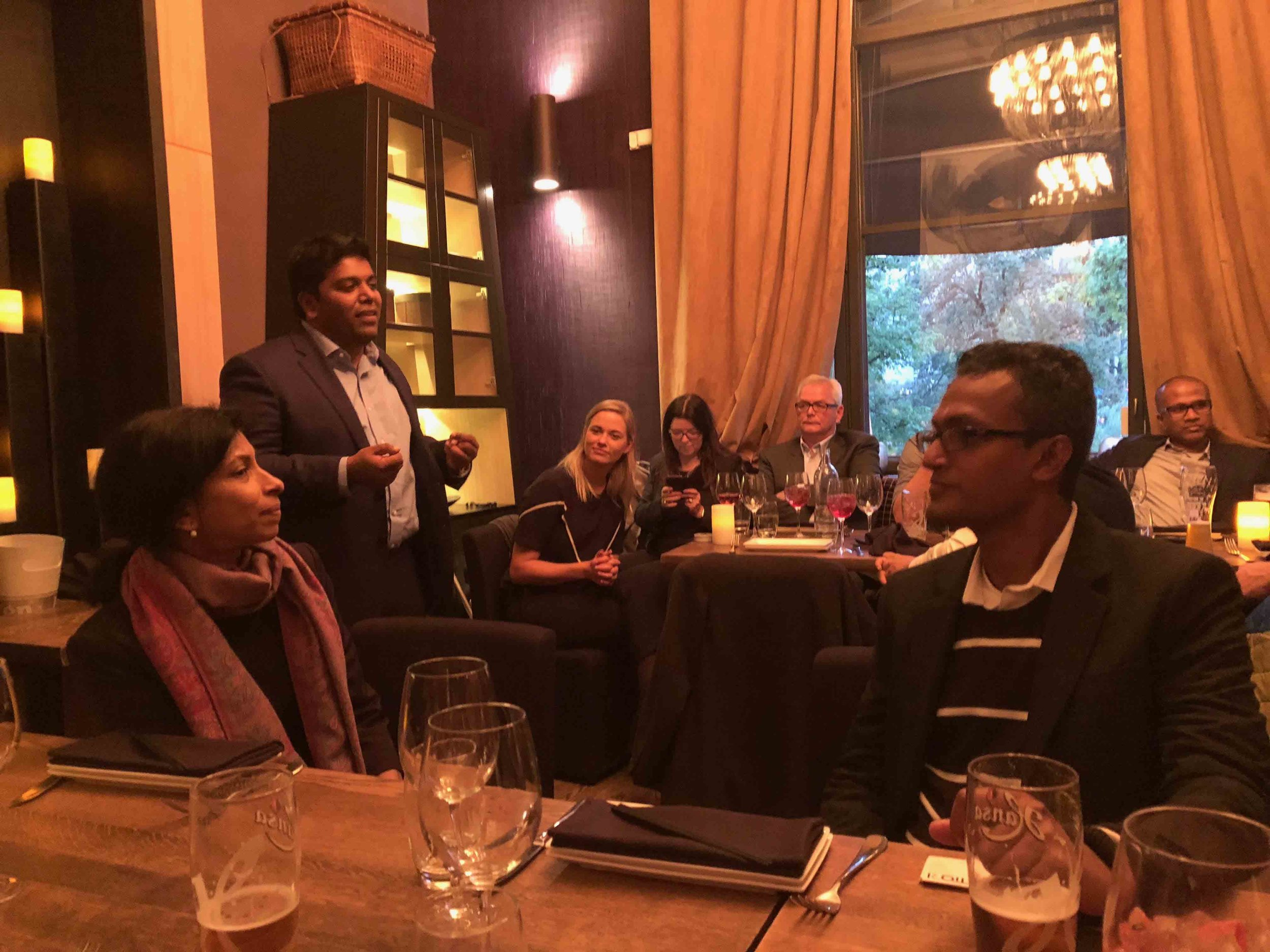Formal Dinner with the Sri Lankan delegate during the Oslo Innovation Week 2018! - 25.09.2018 - Südøst Restaurant, Oslo - Once again, some of Sri Lanka's most promising tech startups were invited to pitch at the Oslo Innovation Week, and once again, there was a reception dinner. The guests included the Ambassador of Sri Lanka, Oslo municipality, TIQRI, ICT Norway, Tin etc. Why are the Sri Lankan and Norwegian business relations in tech getting so much attention, on the contrary of a history of strenous peace negotiations between them?As how the CEO of TIQRI Finn Worm-Petersen eloquently put it; despite being on two separate continents, Norway and Sri Lanka share crucial similarities, business-wise. Stuff like, similar work ethics and culture, sizes of companies, overlapping technologies etc. Tin was present, partly sharing his perspectives on tech communities, but also entertaining the guests with a joke or two.