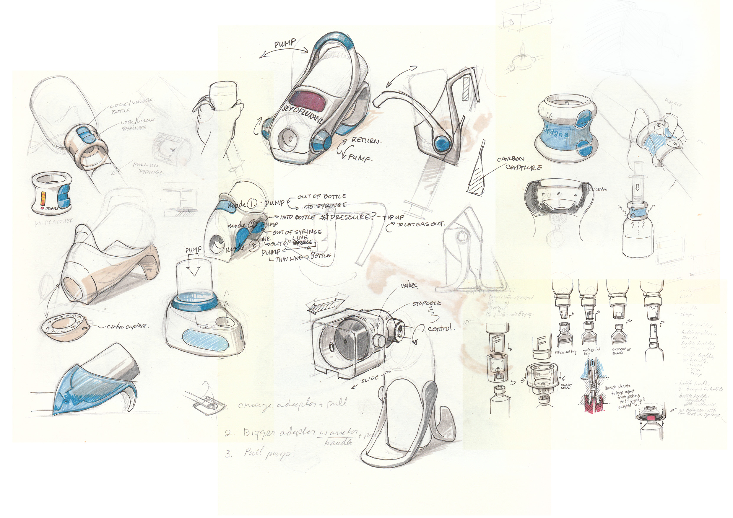 Concept sketches for an anaesthetic filling device I've been working on. This image is actually a composite of several sketches done while working on my M.Sc Medical Device Design thesis project. The company I worked for liked these sketches so much, they blew them up and framed them for their R&D office.