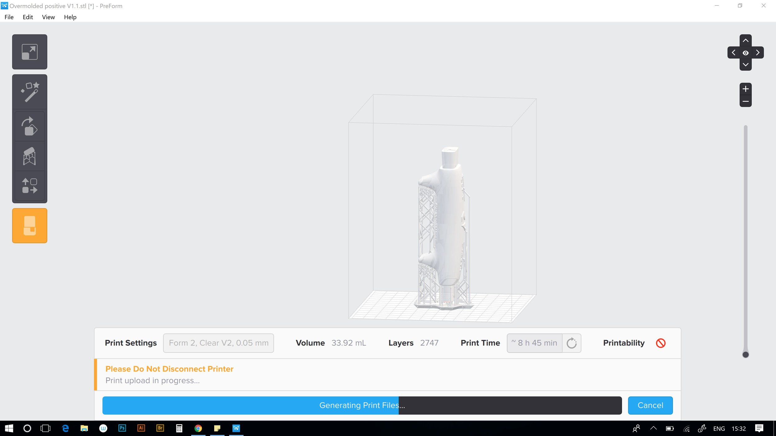 Sccreen grab of Preform, the set up software for my Formlabs Form2. Love that it automatically generates the intricate support scafolding.