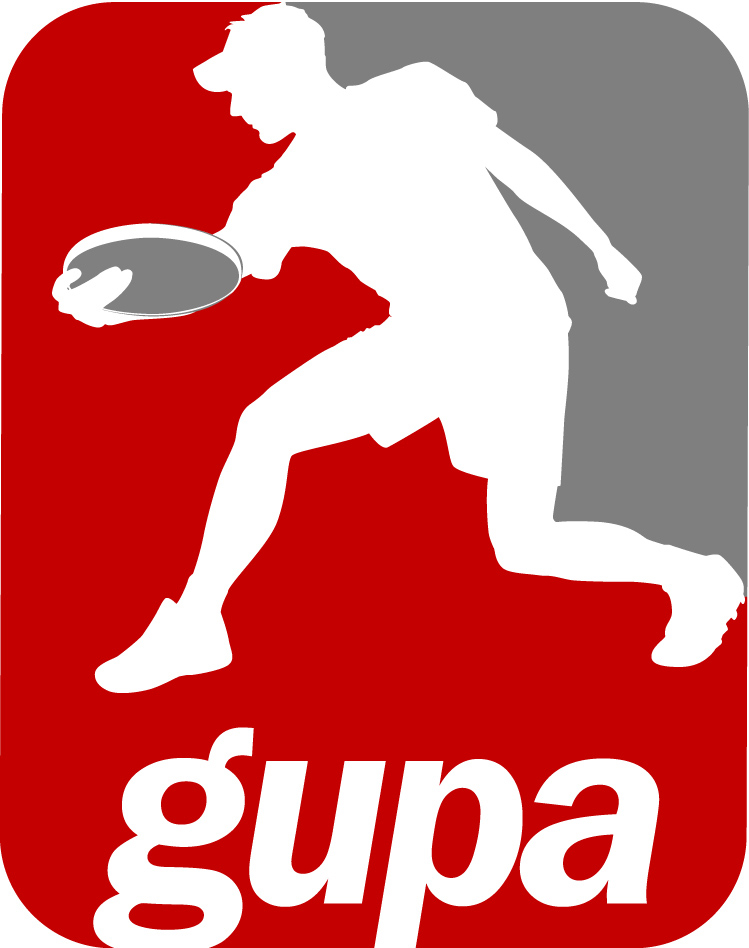 Me and my crap backhand grip immortalized on the GUPA logo. Later on, when I left Guelph to play Open in Toronto, I learned to properly huck backhand - totally different grip. And that visor...