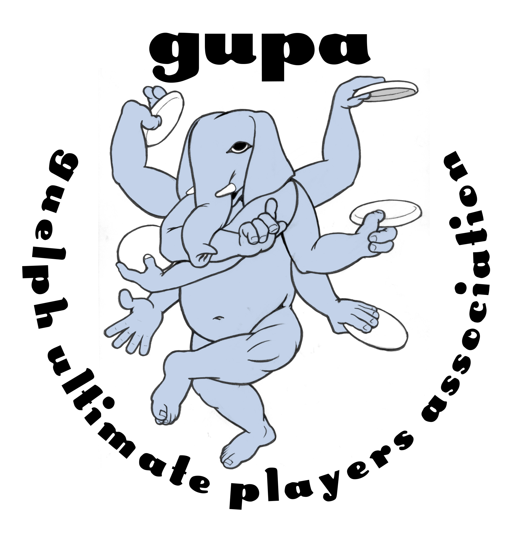 First GUPA logo. Rejected for being blasphemous. So glad we didn't use this.