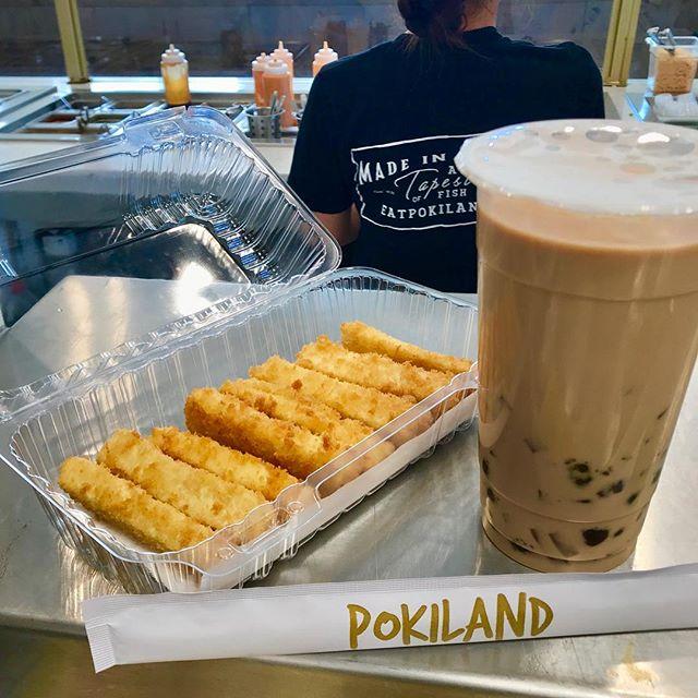 black sugar milk tea + tofu fries... if you know, you know. If you didn't, now you do.🤭🤤 #pokiland #bighatdays #clovis #sundayfunday #tofu #vegan #fresyes #fresnostate #godogs #poke #boba #yum #ripnipsey