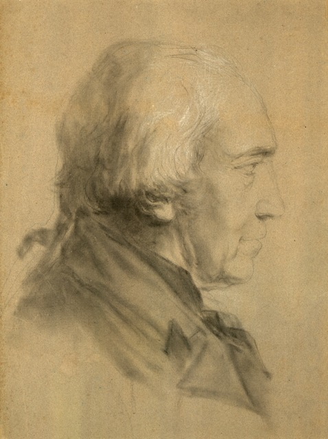 Portrait of James Watt in pencil and chalk, possibly drawn by Gregory Watt.  MS 3219/8/4  Reproduced with the permission of the Library of Birmingham.