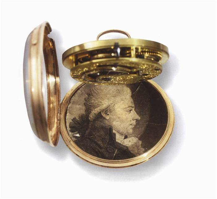 Gold fob watch with drawing of James Watt Junior Photo by Birmingham Museums Trust