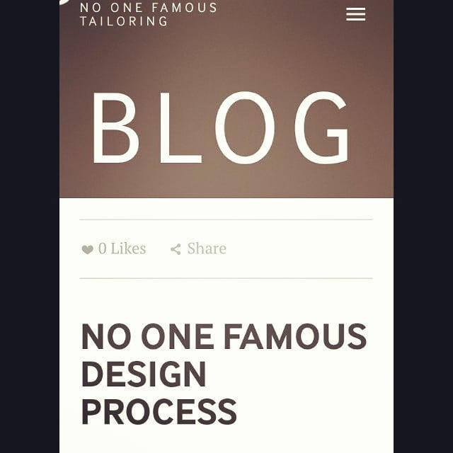 We've gone all #21stCentury and added a #blog page to our website! The #first of which explains our #design #process for all those who wondered what is included in our #making #costs. We aim to make our #customers feel like #Kings and #Queens, so have a read through what the #royal treatment includes... (Link in bio)  #NoOneFamous #Tailoring #Alterations