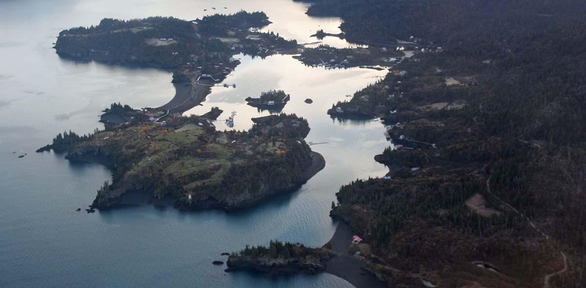flying over kachemak bay, alaska