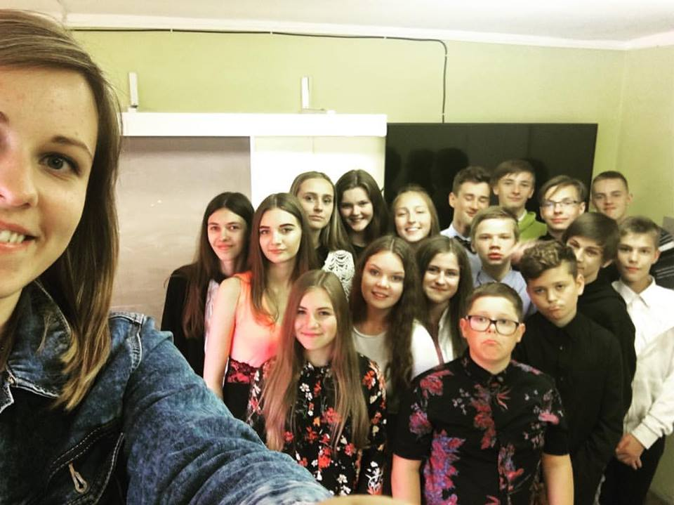 Ieva with her students.