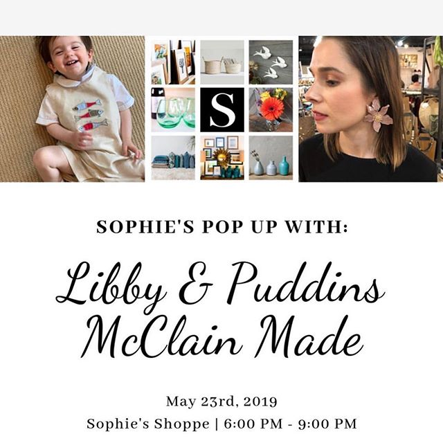 Hey, Chattanooga! Mark your calendar for next Thursday, May 23rd. We're doing a pop up at @sophies_shoppe with @libbyandpuddins childrens clothing. Hope to see you there! Facebook event link is posted in our profile. .
