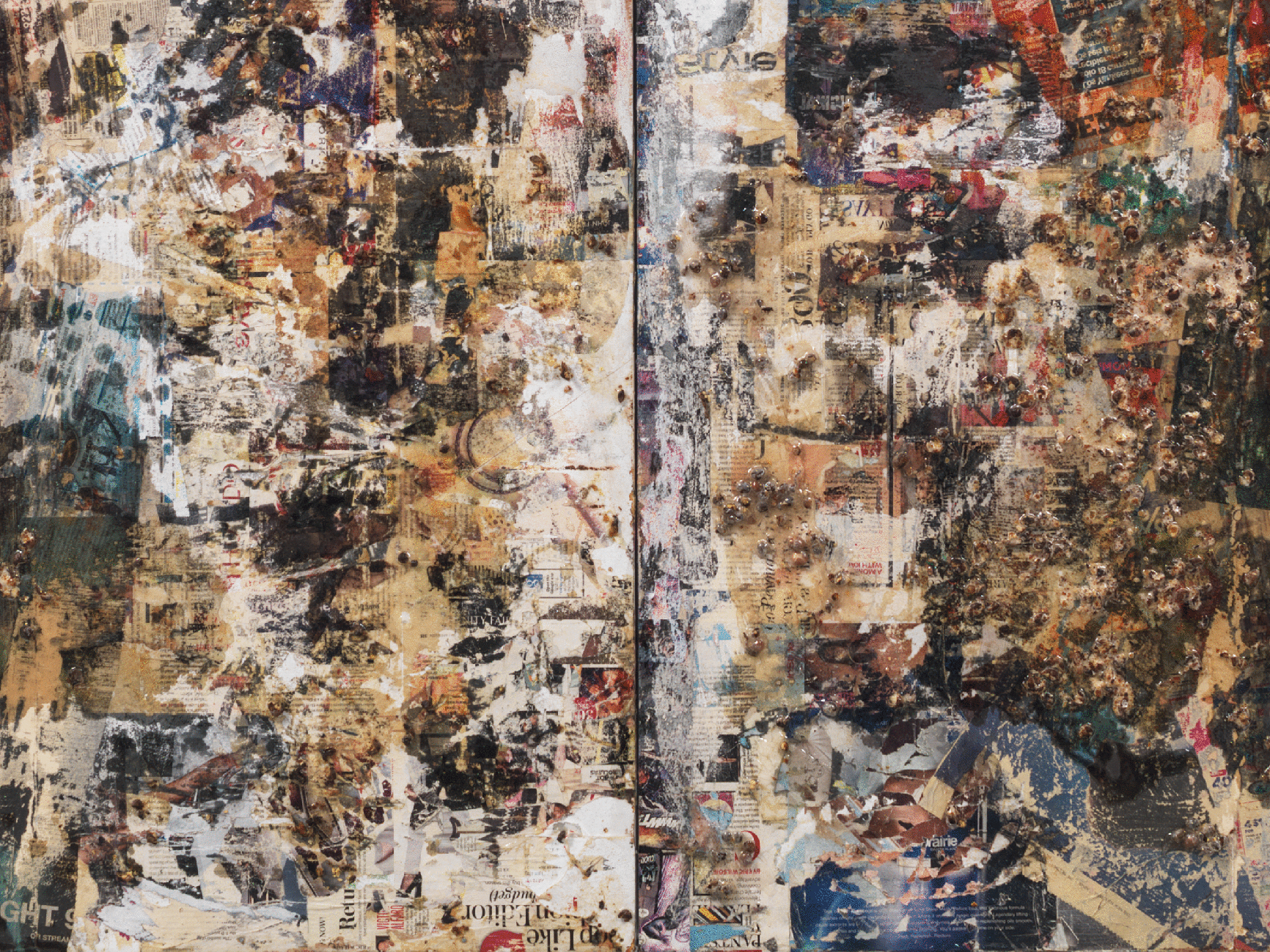 """""""A Tempest Diptych (after Leonardo da Vinci)"""" detail  Gandules and epoxy resin on found commercial print  112 x 48 in.  2016"""