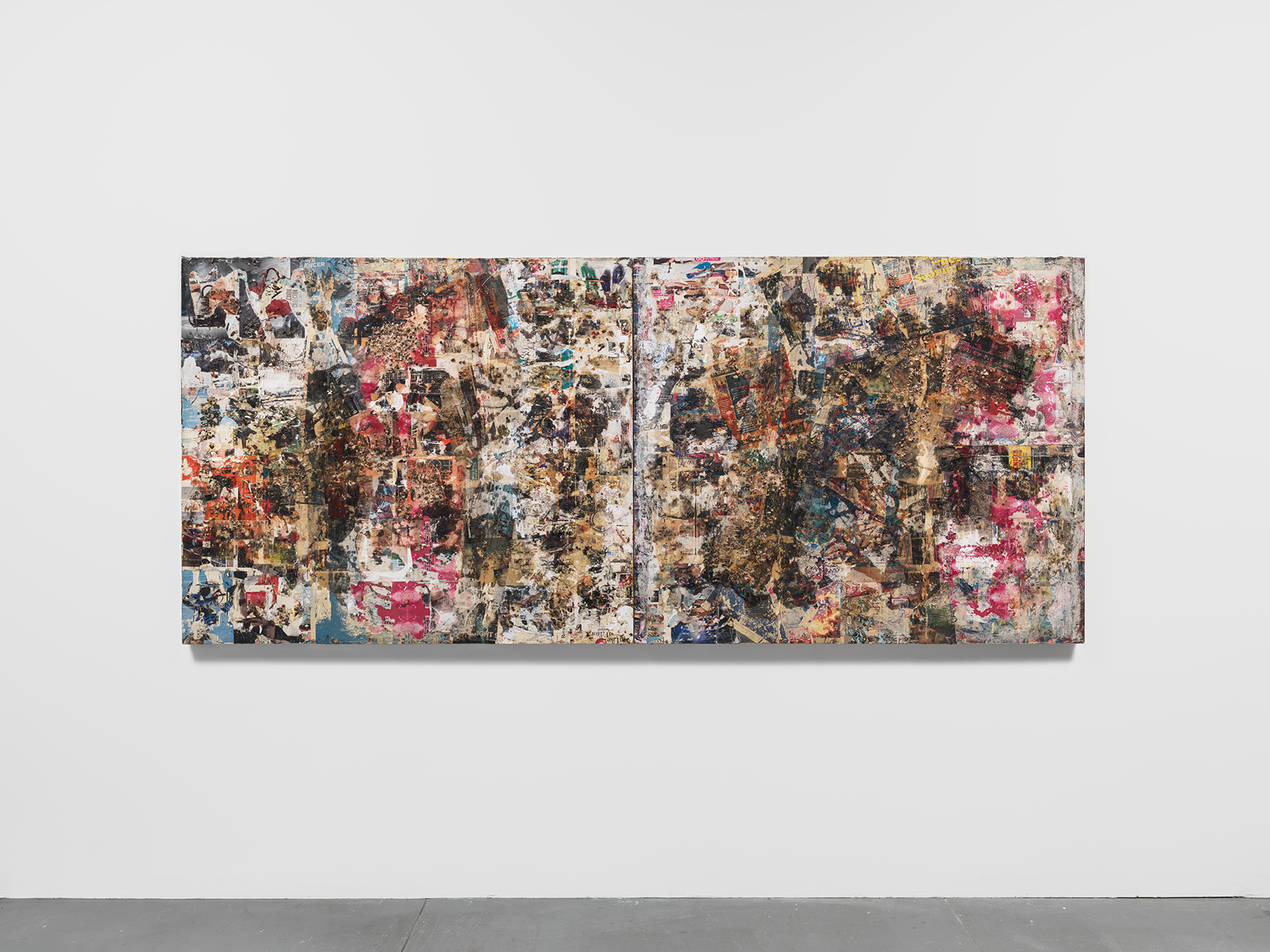 """""""A Tempest Diptych (after Leonardo da Vinci)""""  Gandules and epoxy resin on found commercial print  112 x 48 in.  2016"""
