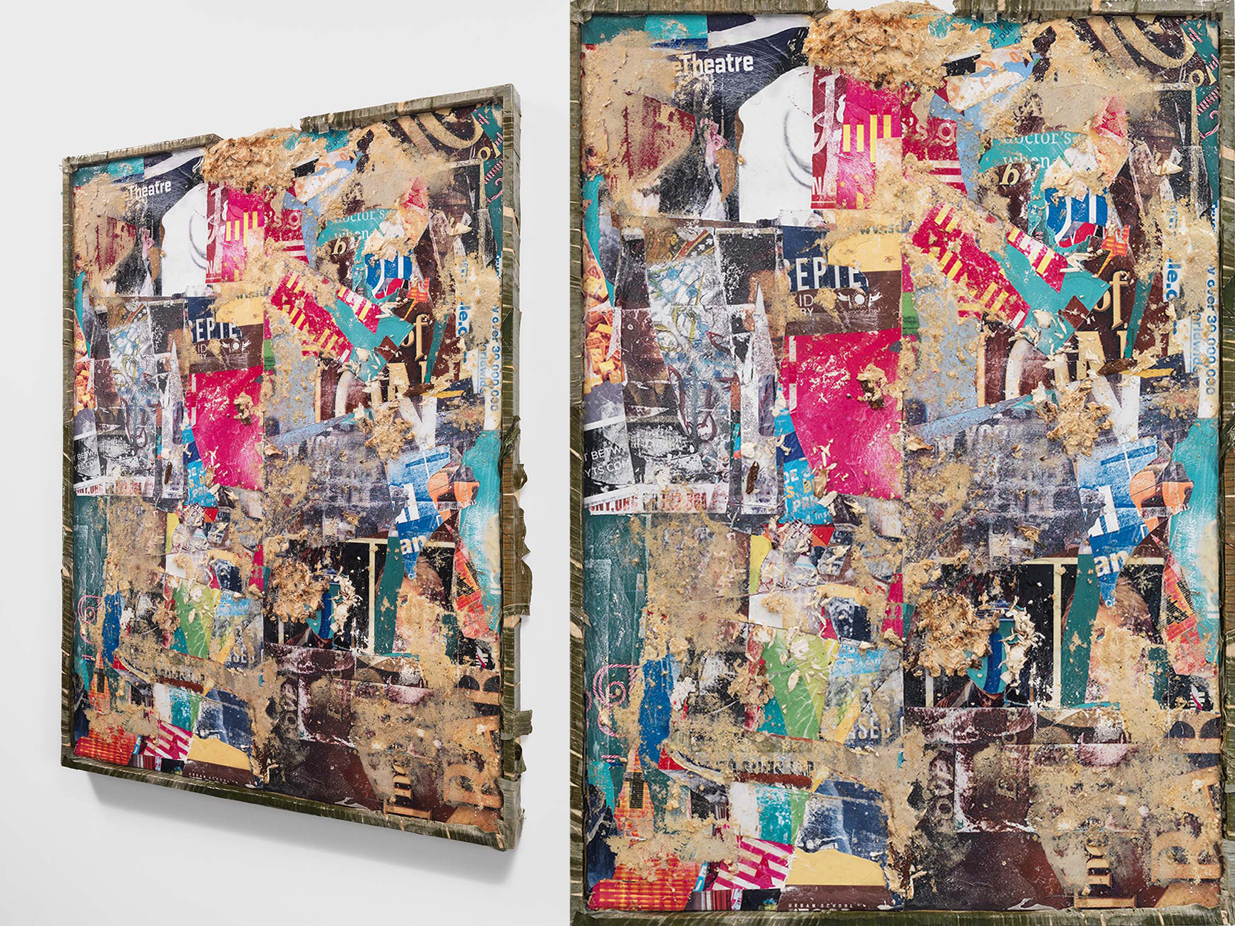 """""""Eye Level (after Stuart Davis)"""" frontal and angled views  Yucca and epoxy resin on found billboard advertisements;banana leaves and epoxy resin on wood  49¼ x 37¾ x 2½ in.  2016"""