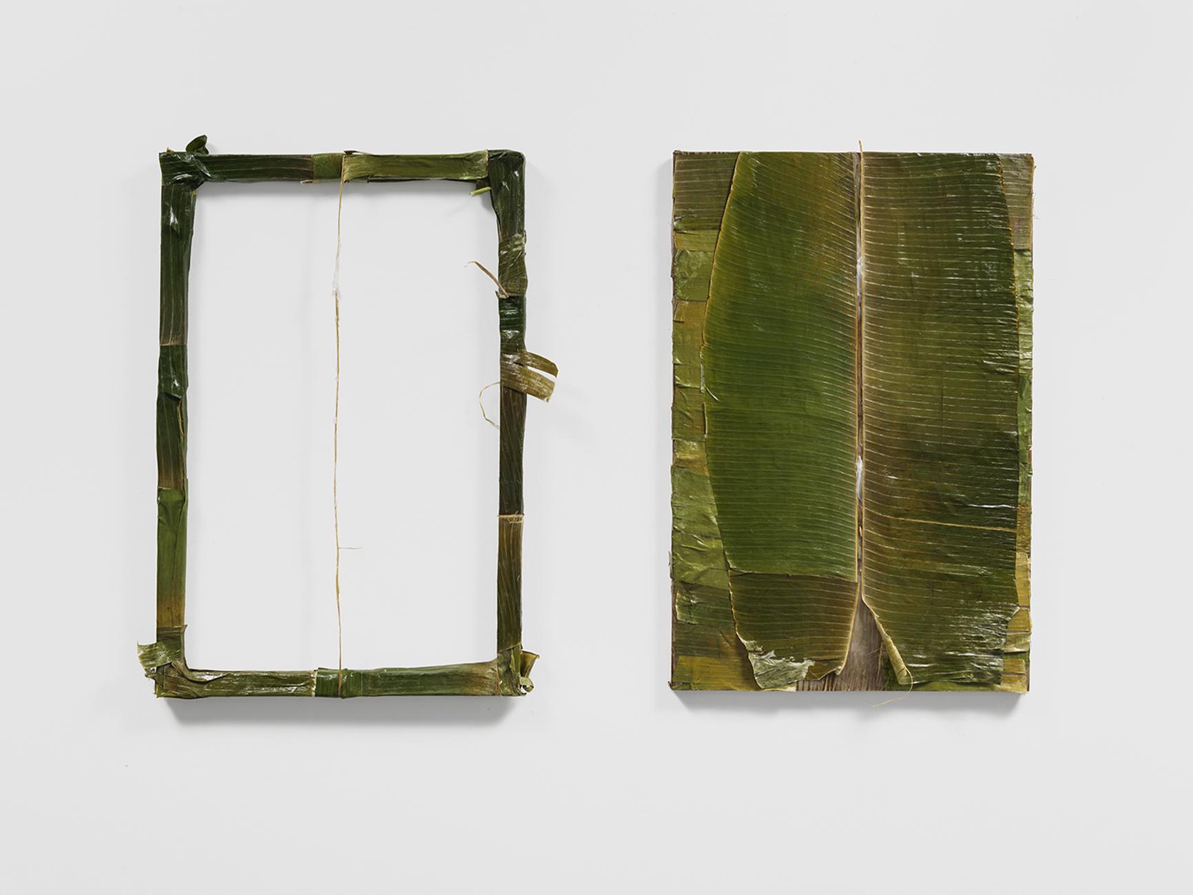 """Colgão Diptych""  petrolatum (Vicks VapoRub) on plantain leaves lined with resin,  36 x 24 in.each  2017"
