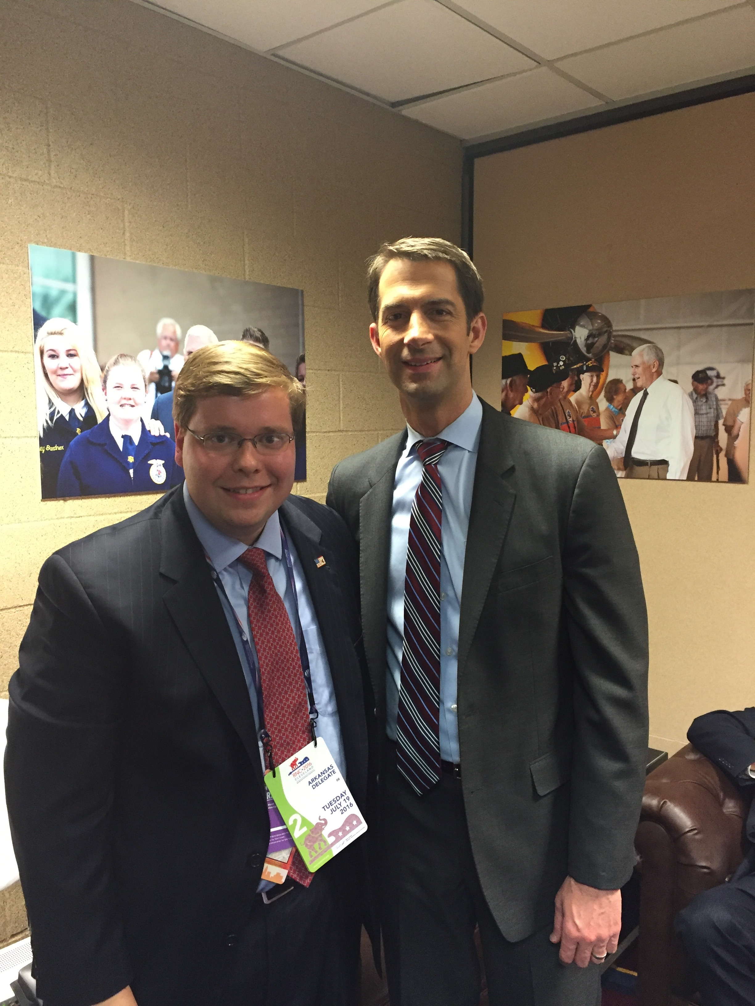 In the green room with Senator Tom Cotton at the 2016 Republican National Convention.