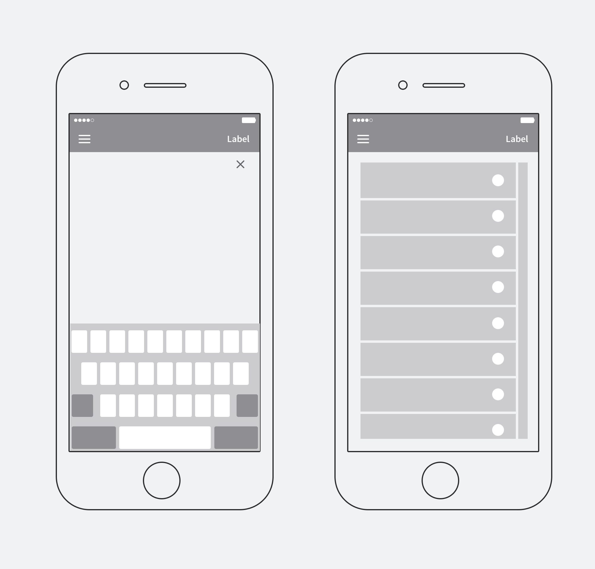 Keyboard and Dropdown UI from the native Android OS.